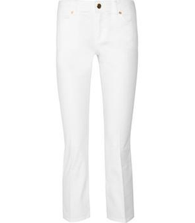 Tory Burch Mid-rise straight-leg jeans Brown, White