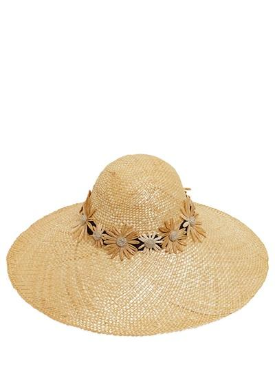 KREISI COUTURE - BAU MARGHERITE EMBROIDERED STRAW HAT