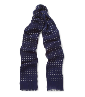 Drake's London Drake's Spot-Print Modal and Cashmere-Blend Scarf Blue, White
