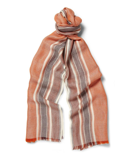 Loro Piana Loro Piana Striped Cashmere and Silk-Blend Scarf Orange, White