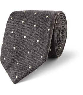 Drake's London Drake's Dot-Embroidered Wool and Silk-Blend Tie Grey, White