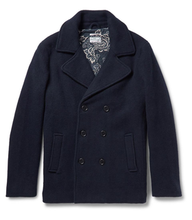 Gant Rugger Gant Rugger Scruffy Double-Breasted Wool-Blend Peacoat Blue, White