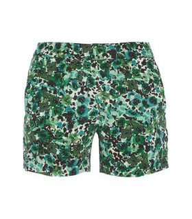 Kain Ogden printed silk crepe de chine shorts Green