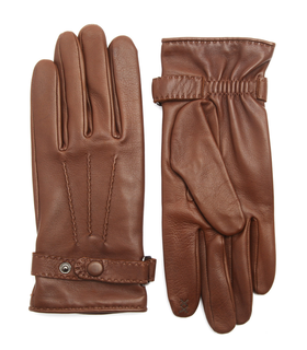 Agnelle Brown Buckled iPhone Gloves Brown