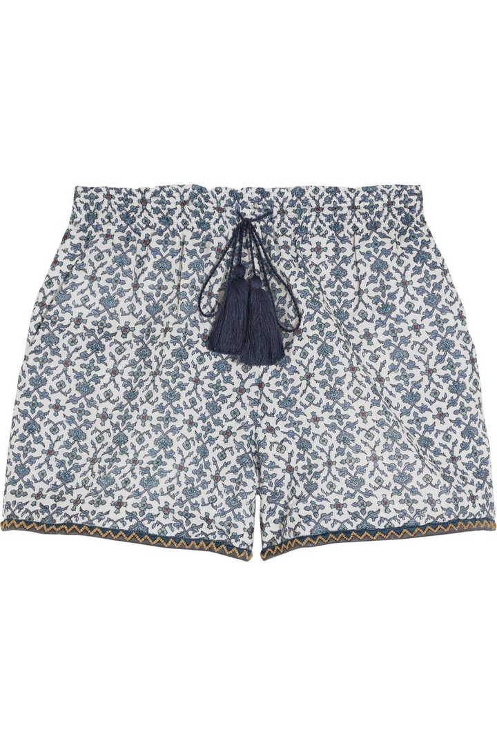 Talitha Bead-trimmed printed cotton and silk-blend shorts