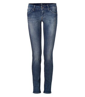 Seven For All Mankind The Olivya Long Beach Wave Blue Low Rise Skinny Jeans Blue