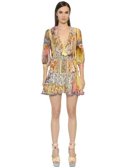 JUST CAVALLI - RUFFLED FLORAL PRINT SILK CHIFFON DRESS