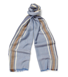 Loro Piana Loro Piana Striped Cashmere and Silk-Blend Scarf Blue, White