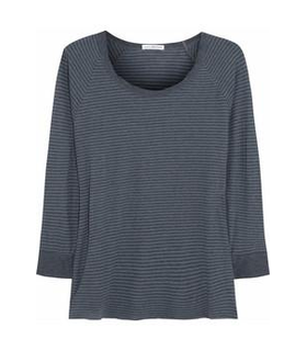 James Perse Striped cotton-jersey top Grey