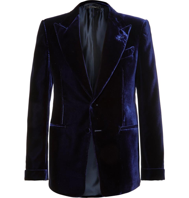 Tom Ford's Blue Shelton Slim-Fit Velvet Tuxedo Jacket $3,660