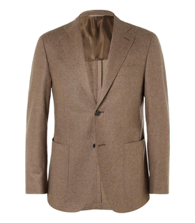 Canali Canali Kei Unstructured Slim-Fit Wool Blazer Brown, White