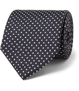 Drake's London Drake's Polka-Dot Silk Tie Blue, White