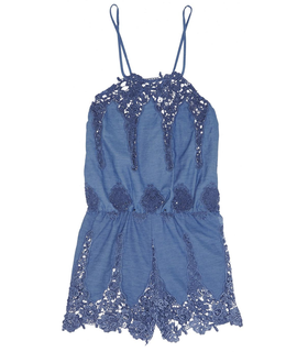 Miguelina Cicely crocheted cotton-blend playsuit Blue