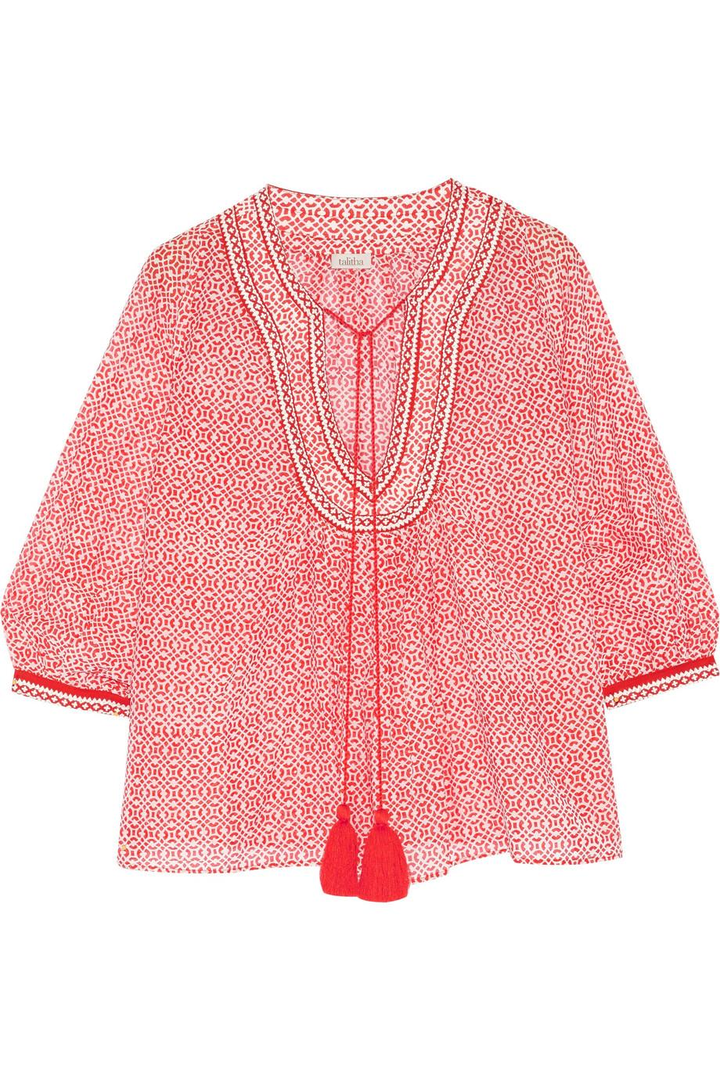 Talitha Printed silk and cotton-blend voile blouse