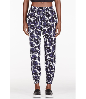 Mother Of Pearl Mother Of Pearl Purple Crepe Brushstroke Floral Rhea Trousers Purple, White