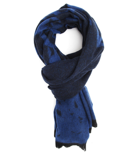 McQ By Alexander Mcqueen Swallows Blue Printed Scarf Blue