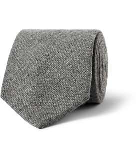 Drake's London Drake's Woven Cashmere Tie Grey, White