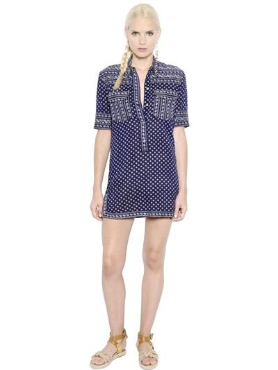 ISABEL MARANT ÉTOILE - FLORAL PRINTED LIGHT COTTON POPLIN DRESS