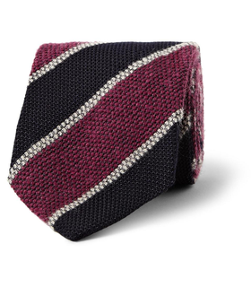 Drake's London Drake's Striped Silk, Mohair and Wool-Blend Tie Red, White