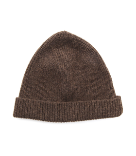 A.P.C. Hat with Brown Tucked Ribbed Edges Brown