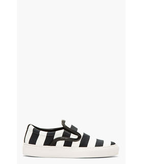 Mother Of Pearl Mother Of Pearl Black And White Striped Leather Trim Slip_on Sneakers Black, White