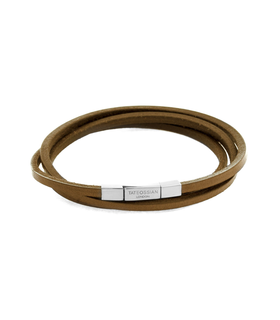 Tateossian Cobra Size M Brown Square Leather Bracelet Brown