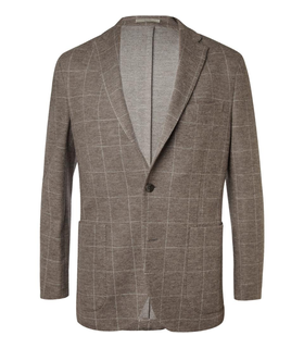 Boglioli Boglioli Brown Check Wool and Cotton-Blend Jersey Blazer White