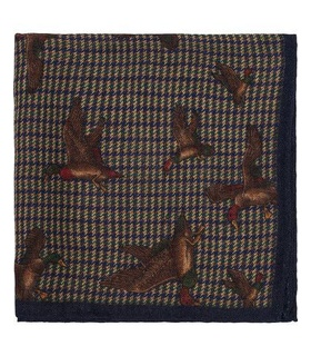Amanda Christensen Amanda Christensen Wool/Silk Printed Duck Pocket Square Blue White, Blue