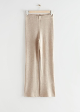 & Other Stories Flared Rib Knit Trousers - Beige Beige