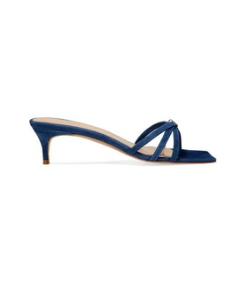 BY FAR BY FAR - Libra Suede Mules - Navy White, Blue