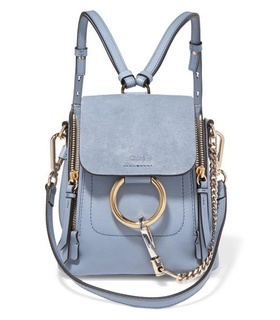 Chloé Chloé - Faye Mini Textured-leather And Suede Backpack - Light blue White, Blue