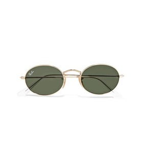 Ray-Ban Ray-Ban - Oval-frame Gold-tone Sunglasses - one size White, Gold