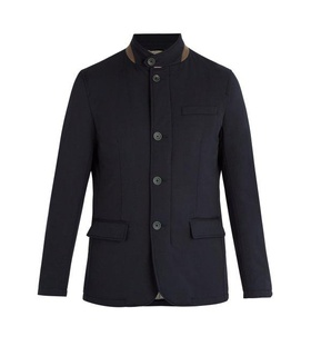 Herno Herno - Single Breasted Wool Blend Jacket - Mens - Navy White, Blue