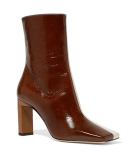 Wandler Wandler - Isa Two-tone Crinkled Patent-leather Ankle Boots - Chocolate Brown