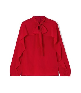 RED Valentino REDValentino - Pussy-bow Silk Crepe De Chine Blouse - IT38 Red