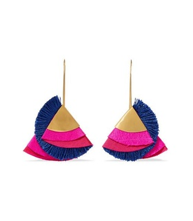 Katerina Makriyianni Katerina Makriyianni - Flare Gold-tone And Silk Earrings - Pink White, Pink