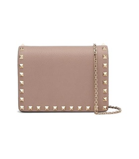 Valentino Valentino - Valentino Garavani The Rockstud Textured-leather Shoulder Bag - Pastel pink White, Pink