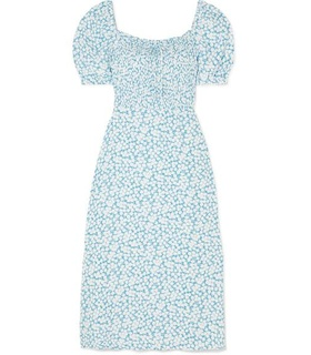 Faithful the Brand Faithfull The Brand - Majorelle Shirred Floral-print Crepe De Chine Midi Dress - Light blue Blue