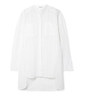 By Malene Birger By Malene Birger - Moa Asymmetric Oversized Broderie Anglaise Cotton Tunic - White White