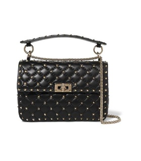 Valentino Valentino - Valentino Garavani The Rockstud Spike Medium Quilted Leather Shoulder Bag - Black Black