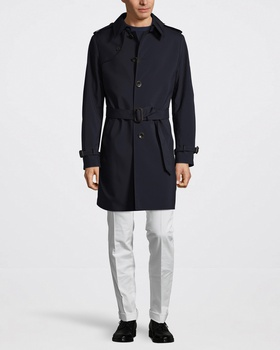 Canali Classic Trenchcoat Marinblå White, Blue