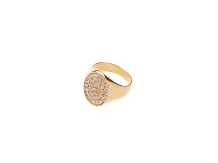 Cinco manu ring white, 17 mm - gold plated Gold