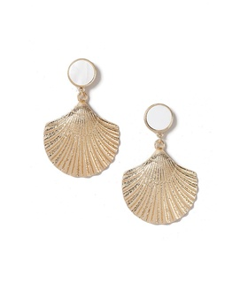 Gina Tricot Gold Look Shell Earrings White, Beige