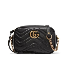 Gucci Gucci - Gg Marmont Camera Mini Quilted Leather Shoulder Bag - Black Black, White