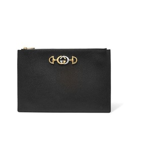 Gucci Gucci - Zumi Embellished Leather Pouch - Black Black, White