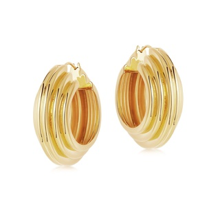 missoma Lucy Williams Large Chunky Ridge Hoop Earrings Gold