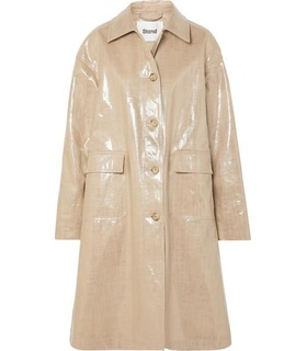 Stand STAND - Debbie Oversized Coated Linen And Cotton-blend Coat - Beige White, Beige
