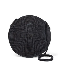 Catzorange Catzorange - Circle Woven Cotton Shoulder Bag - Black Black, White