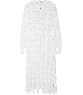Chloé Chloé - Fringed Crocheted Cotton-blend Maxi Dress - Ivory White