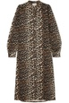 Ganni GANNI - Leopard-print Denim Dress - Leopard print Brown
